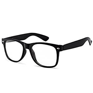 61fe25e42db OWL - Non Prescription Glasses - Clear Lens Black Frame - UV Protection (1  Pair