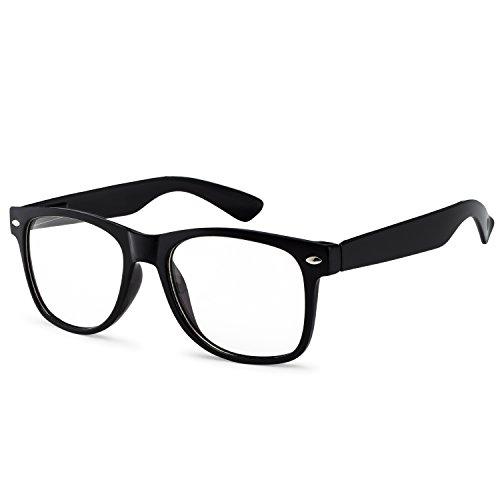 OWL - Non Prescription Glasses - Clear Lens Black Frame - UV Protection (1 Pair)