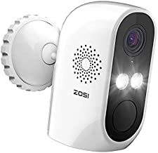 ZOSI C1 Wire Free Battery Security Camera, WiFi Rechargeable IP Cam with 2-Way Audio, Optional Color Night Vision, Human Detection, Remote APP, for Home Office Surveillance