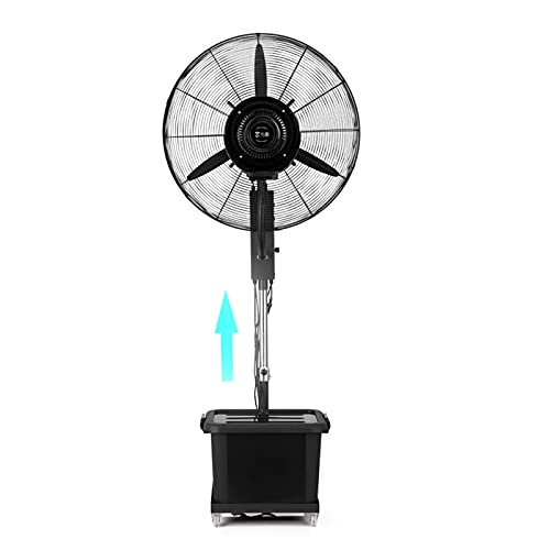 YSJX Ventilador de pie con Pedestal oscilante con Altura Ajustable,con función de pulverización,3 aspas de aleación de Aluminio,3 configuraciones de Velocidad,Negro (Size : 260W)