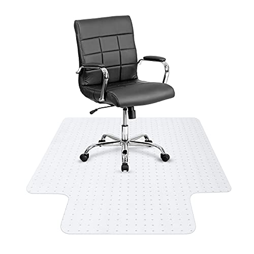 """Chair Mat for Carpet Thick 36"""" x 48"""" 2.5mm PVC Carpet Protector for Low Pile Carpets Anti-Slip Keep in Place Effective Grip Durable Don't Collapse Easy to Clean for Office Home"""