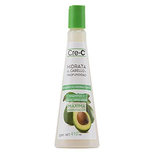 Cre-C SHAMPOO DE AGUACATE. Shampoo Hidratante de Máxima Hidratación. Aroma Aguacate-Coco (410 ml). Shampoo Hidratante elaborado con aceite de aguacate. Funciona como grasa buena...