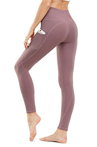 TUNGLUNG High Waist Yoga Pants, Yoga Pants with Pockets Tummy Control Workout Pants 4 Way Stretch Pocket Leggings Pink