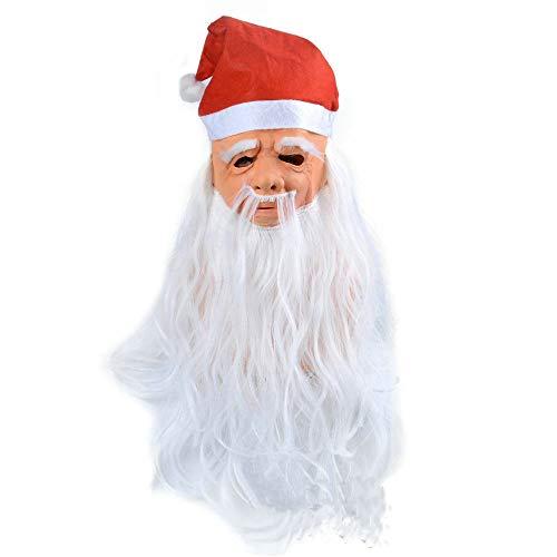 HFHF Máscara de Halloween, mago de pelo blanco, máscara de Papá Noel capucha, máscara de Viejo Abuelo Máscara de látex, Adecuado para Halloween Espeluznante Decoración (Santa Claus)