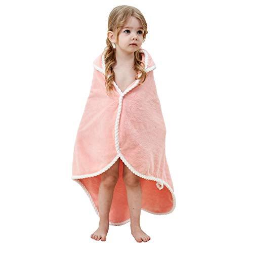 YiyiLai Baby Handtuch mit Kapuze - Korallen Samt, weich und groß Säugling zu Kleinkind Strand oder Badetuch Decke für Mädchen oder Jungen, perfektes Baby Geschenk Gr. M, A: Rosa