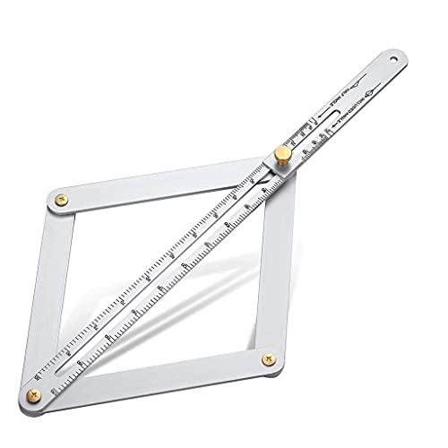 LHY De múltiples Fines Regla de ángulo Diagonal Universal Multifuncional Regla de ángulo Diagonal de Alta precisión Escala Protractor de carpintería Regla de medición de la Madera Conveniencia