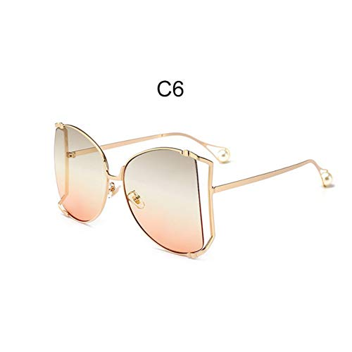 Overgrote vierkante zonnebril vrouwen Cat Eye Clear Shades Bril Pearl Fashion half Frame zonnebril dames