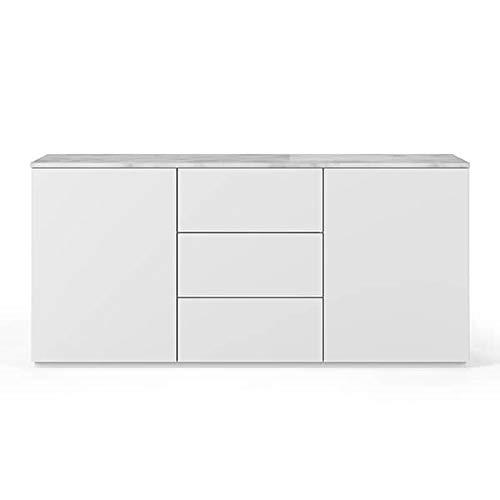 Buffets Design et élégants, Collection Join, signée TEMAHOME. - Join 180H1, Base Classique, Blanc Mat, Plateau en marbre Blanc