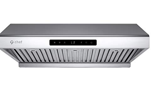 Hauslane | Chef Series Range Hood PS10 30' Under Cabinet Kitchen Extractor | PRO PERFORMANCE | Stainless Steel Electric Stove Ventilator | 3 Speed 900 CFM Fan, Bright LED Lights & Delay Auto Shut-Off