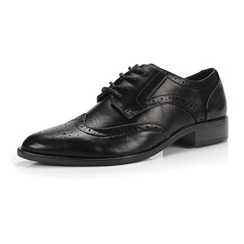 Berry Women's Comfortable Perforated Brogue Low Heels Casual Oxford Daily Shoe,Berry Black,11 M US