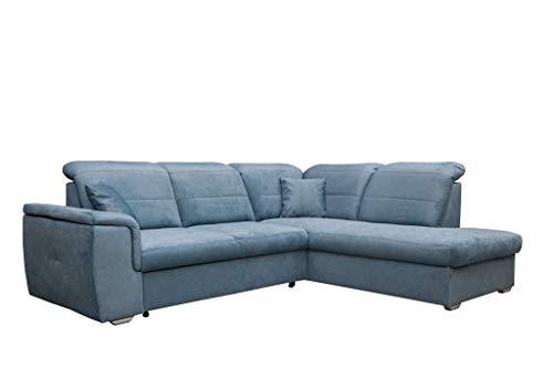 Ecksofa 261 x 203 grau beige anthrazit blau Blue Sofa mit Schlaffunktion L Form Couch Big Sofa XXL modern Wellenfedern Sofa für 4 Sitzer und mehr verstellbare Kopfteile (rechtsseitig, Blau)