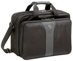 Wenger 600648 LEGACY 16' Double-Gusset Laptop Case , Airport friendly with padded triple protect compartment in Black / Grey {15 Litres}