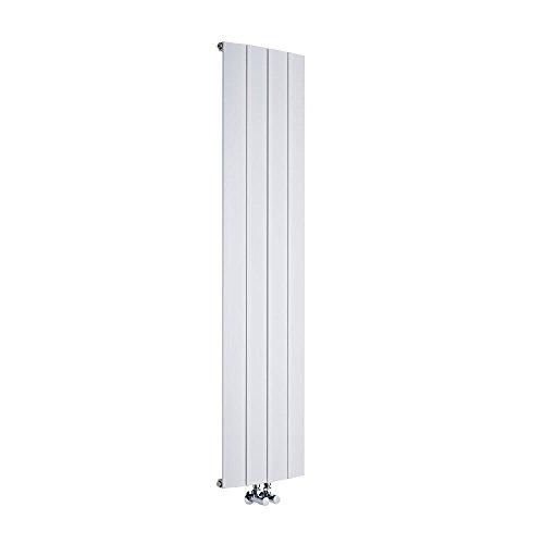 Hudson Reed - Design Heizkörper Vertikal Einlagig Mittelanschluss - Aluminium Weiß 1600mm x 375mm 1361W - Aurora