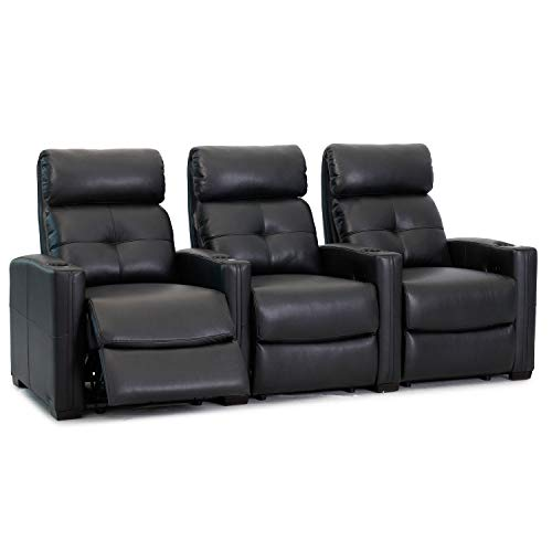 Cloud XS850 - Octane Seating - Home Theatre Chairs - Black Bonded Leather - Manual Recline - Straight Row 3 Seats - Space Saving Design