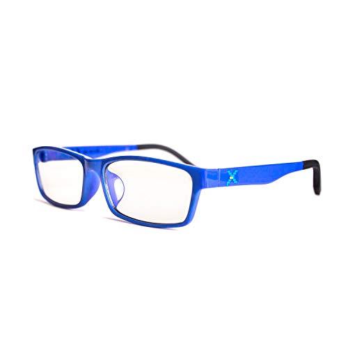 Pixel Lens Class Gafas para Ordenador, TV, Tablet,Gaming. contra EL CANSANCIO Ocular, Confort Visual, Montura Ligera, CERTIFICADA LUZ Azul - 41% Y UV -100% EN LA Universidad DE TURÍN (+0.00, Blue)