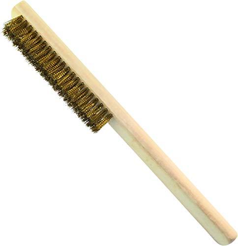 AERZETIX - Cepillo Metálico con Alambre Ondulado Latón 5 filas - Longitud 235mm - Raspador de mano - Mango de madera - Limpieza/Decapado/Pintura/Óxido/Abrasivo - Pelos de Acero - C45949
