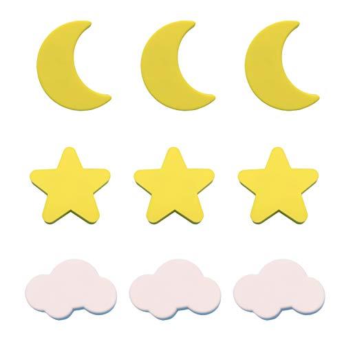 MHwan Pomos de cajón Infantil Estrella, Tiradores de Armario, Perillas Suaves para cajones para niños Perillas de Nubes de Estrella y Luna para Armario de habitación de niños, 9 Piezas