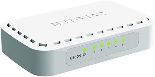 Netgear GS605-400PES Switch, 5Porte Gigabit Base-T RJ45, LED Integrati sulle Porte, Bianco