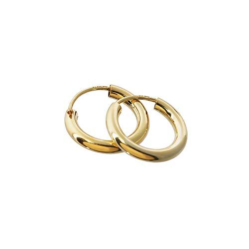 NKlaus PAAR 333 gelb Gold CREOLE Ohrringe Ohrschmuck rund Goldohrringe 15mm 1849