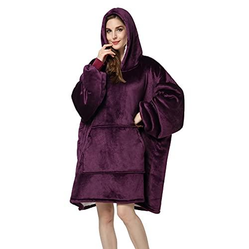 SHUOJIA Manta con Capucha Grande Hoodie Sudadera con Capucha Suave Y Confortable Manta De TV Sudadera Sherpa con Bolsillo Frontal Grande Mujeres Hombres Manta (Purple 1)