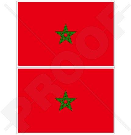 Marokko Marokkanische Flagge afrikanischen 10,2cm (100mm) Bumper Sticker, Aufkleber Vinyl X2