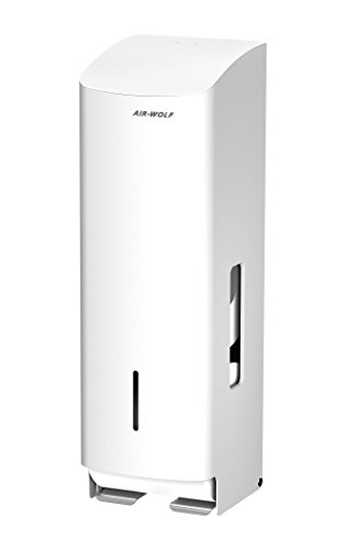 AIR-WOLF WC-Papierspender, 3 Rollen, Edelstahl weiß beschichtet, Serie Alpha