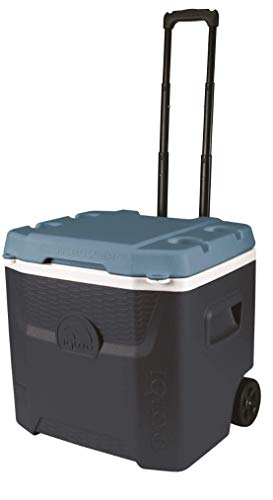 Igloo Max Cold Quantum 52 Quart Roller Cooler, Jet Carbon/Ice Blue/White (Renewed)