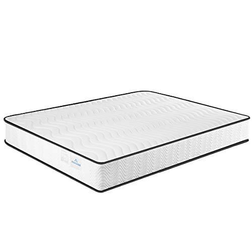 Colchón doble de espuma viscoelástica de 7 zonas, de 135 x 190 x 20 cm, de muelles de 20 cm de alto con tela suave resistente al fuego y barrera (135 x 190 x 20 cm)