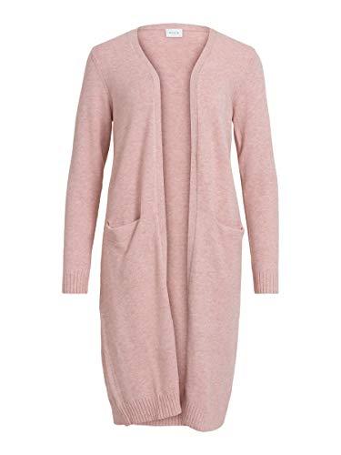 Vila Clothes Damen VIRIL Long L/S Knit Cardigan - NOOS Strickjacke, Misty Rose, XS