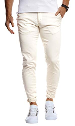Leif Nelson Herren Chino Hose Stretch Chinohose Slim Fit Schwarze Basic Hose für Männer Sommer Freizeithose LN1002 Beige W29L32