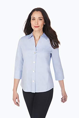 Foxcroft Women's Size 3/4 Sleeve Paige Non Iron Shirt, Blue Wave, 4 Petite