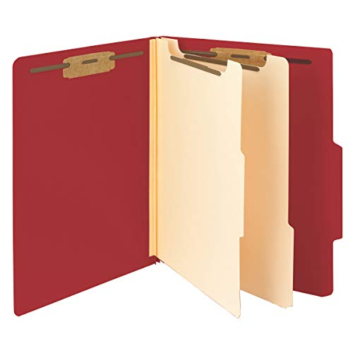 """Smead Classification File Folder, 2 Dividers, 2"""" Expansion, 2/5-Cut Tab, Letter Size, Red, 10 per Box (14003)"""