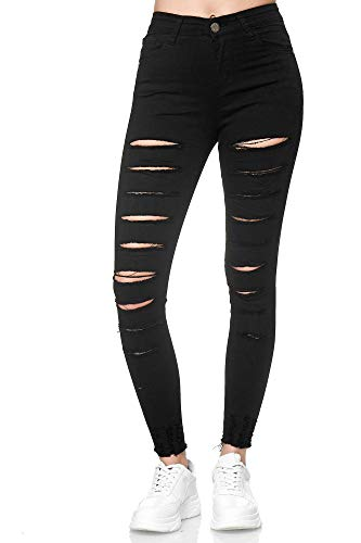 Elara Damen Jeans Destroyed Zerrissen Chunkyrayan YG567 Black-38 (M)