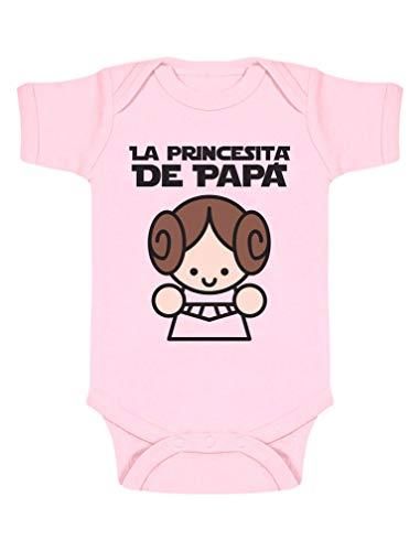 Body de Manga Corta para bebé Regalos Originales para Padres Primerizos - La Princesita de Papá 0-3 Mes Rosa