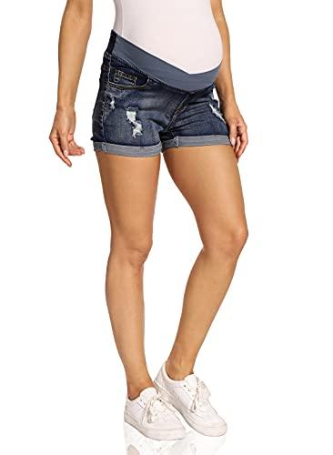 Kegiani Pantalones cortos de premamá para mujer, pantalones cortos de premamá, con banda en el vientre para verano 04#azul oscuro M