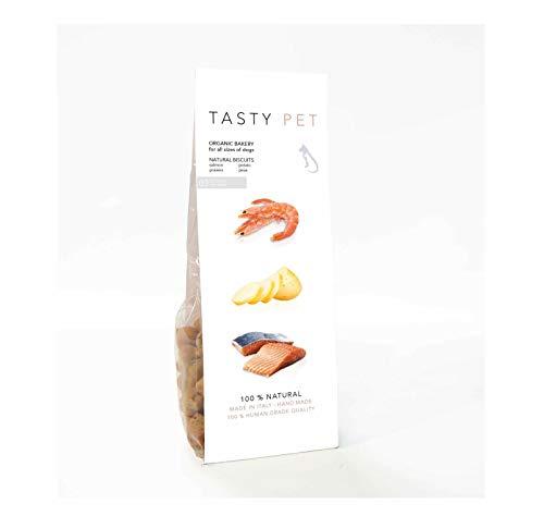 TastyPet Biscotti Naturali per Cane Adulto e Cucciolo, ricchi di Salmone, 1 Confezione da 100 gr.