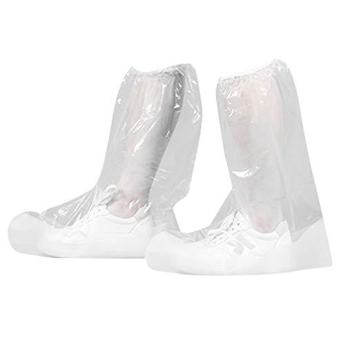 PRETYZOOM 1 Paar Einweg-Schuhüberzüge Wasserdichter Rutschfester Schuhüberzug für Medizinisches Labor Indoor Outdoor Home Office Weiß Größe M