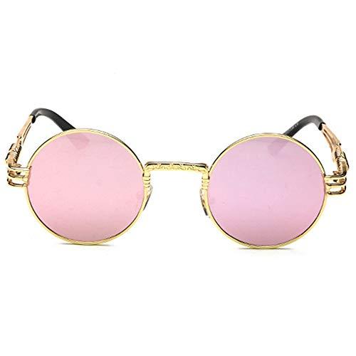 Yangmanini Personalidad Retro Steampunk UV400 Gafas De Sol Marco Redondo Tendencia Marco Dorado Lente Rosa Damas Gafas De Sol Hombres Viajan Temporizador