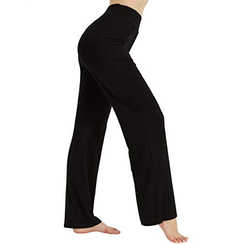 AWLE Yoga Pants for Women Loose Fit, Tall Waist Breathable Boot-Cut Yoga Jeans, Tummy Control Cotton Wide Leg Pants, Women's Non See-Through Bootleg Workout Pants (Black M)