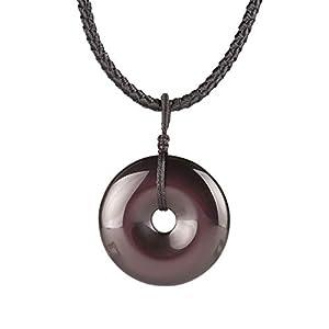MATT HANN Rainbow Eye Obsidian Safty Circel Pendant Original Handmade Grouding Stone Protection (Black Obsidian Large)