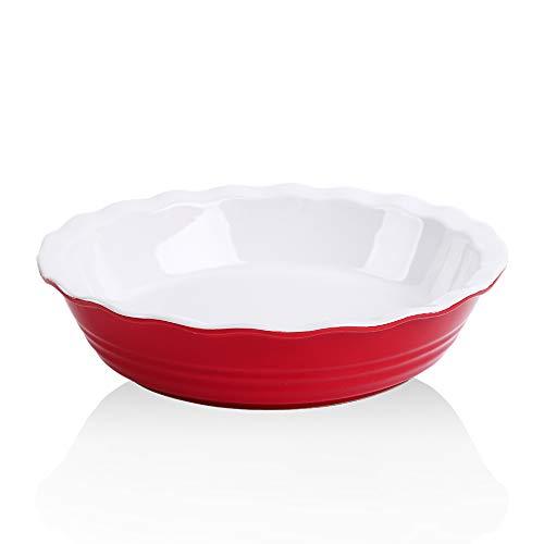 KOOV Ceramic Pie Pan, 10 Inches Pie Dish, Pie Plate for Dessert Kitchen, Round Baking Dish for Dinner, Wave Series (Red)