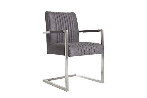 Invicta Interior Echt Edelstahl Freischwinger Stuhl Big Aston Vintage grau hoher Sitzpolsteraufbau...