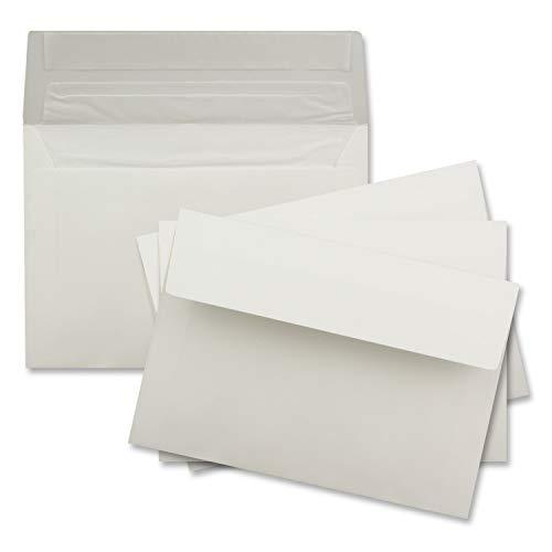50x Brief-Umschläge DIN C6 in Creme - gefüttert mit weissem Seiden-Futter - 11,4 x 16,2 cm - Brief-Kuverts für Grußkarten - 100g/m²- Haftklebung