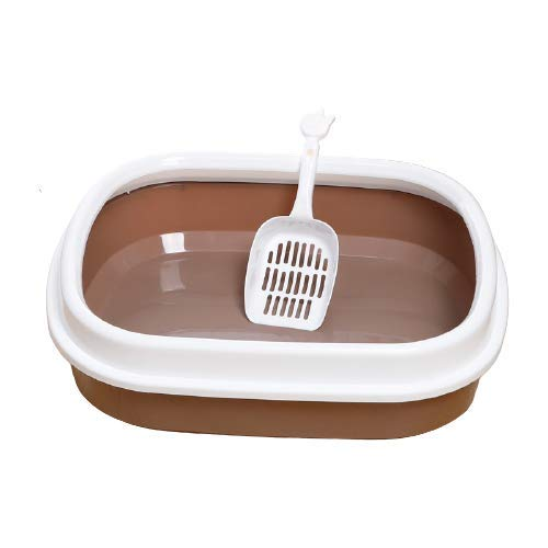 Caja de Arena para Gatos práctica y fácil de Limpiar NSYNSY Caja de Arena portátil Grande, Bandeja de Arena para Gatos con Apertura Superior, fácil de Limpiar, a Prueba de Salpicaduras y Desodorante