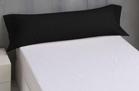 Energy Colors Textil - Hogar Funda de Almohada para Cama, 50% Algodón 50% Poliester. (Negro, Cama 105, 45x120 cm)