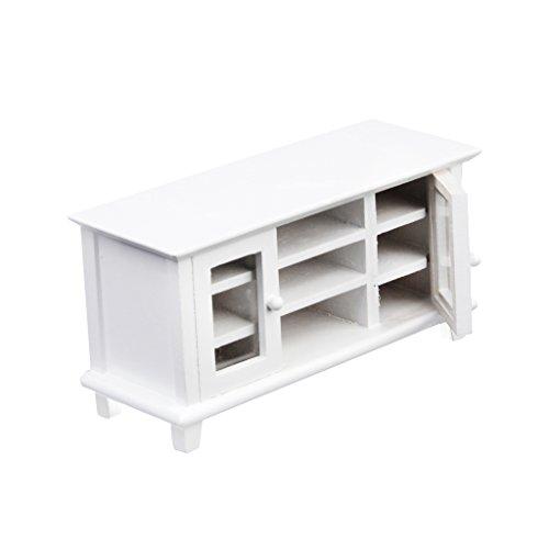 Sharplace 1:12 Puppenhaus Whonzimmer Möbel - Miniatur weiß TV-Schrank Fernsehertisch aus Holz - 12 x 4,5 x 5.3cm - Weiß