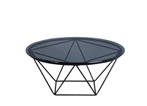 HomeTrends4You Nairo 1 salontafel/bijzettafel, glas, grijs, diameter 70 cm, hoogte 30 cm