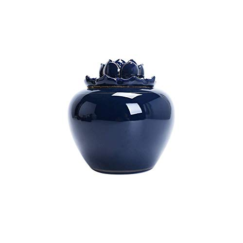 Cremation Ashes Urn Ceramic Keepsake Lotus Jar for Adult Ashes Storage to Commemorate and Remember Those You Love (Color : Blue, Size : 17.5x18cm)