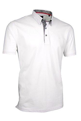 Premium-Poloshirt von Giorgio Capone, einzigartiger Hemdkragen, Pique-Stoff 100% Baumwolle, weiß, Regular Fit (XL)