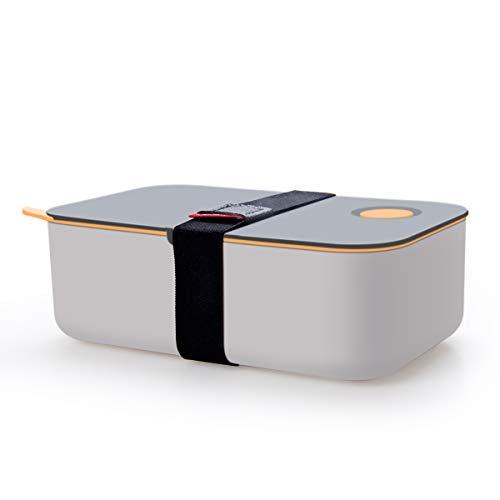 Cadrim Bento Box Lunchbox mit Band Brotdose BPA Frei Luftdicht Auslaufsicher 2 Unterteilungen 1L für Erwachsene, Kinder Spülmaschinen, Mikrowellenfest (Orange)